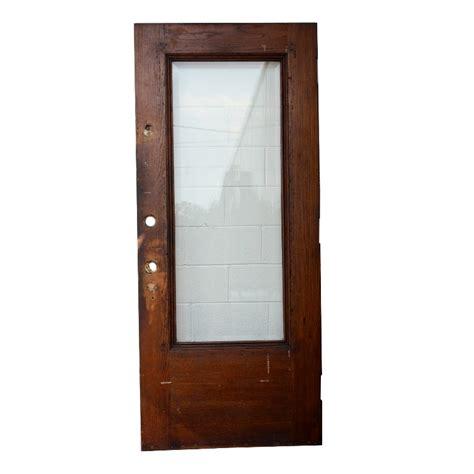 36 X 84 Exterior Door Antique Stained Oak Entry Door With Beveled Glass 36 X