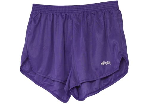 80s Vintage Dolphin Shorts: 80s  Dolphin  Mens purple nylon super short athletic shorts with