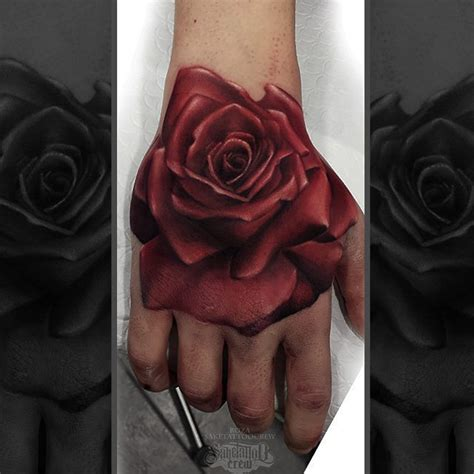 colored rose tattoo realistic color from roza sake crew