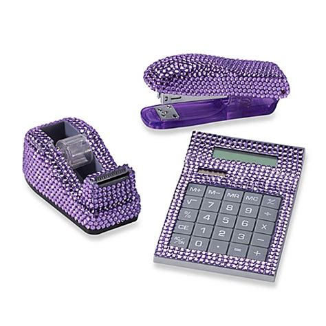 Bling Desk Accessories Rhinestone Desk Set In Purple Bed Bath Beyond
