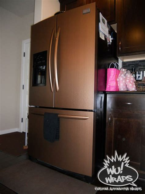 copper kitchen appliances fridge stove mircowave dishwasher wrapped in 3m di noc