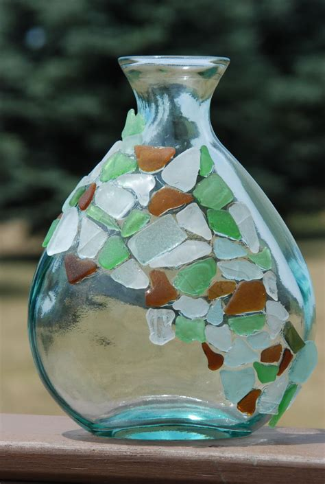 Sea Glass Bottles Ideas Glass Bottle This Would Look Really Once Covered With Seaglass And String Of