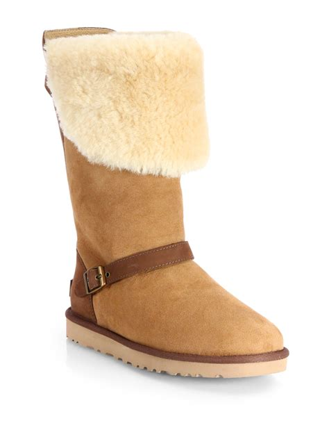suede boots ugg ciera shearlingtrimmed suede boots in brown chestnut