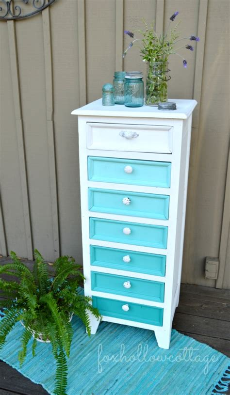 Diy Ombre Dresser by Aqua Ombre Painted Furniture Makeover Fox Hollow Cottage