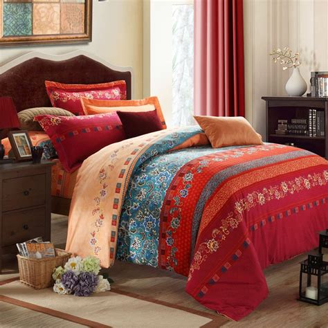 blue bohemian bedding rust orange blue and dark red bohemian boho style