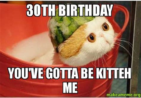 Funny 30th Birthday Meme - 30th birthday you ve gotta be kitteh me make a meme