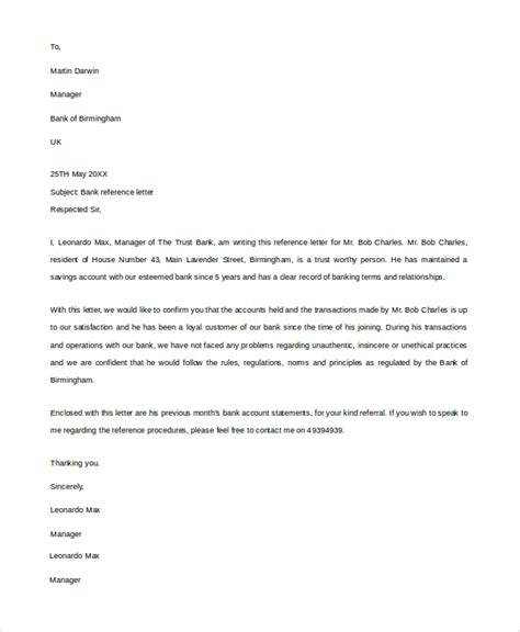 letter template bank 20 reference letters sle templates