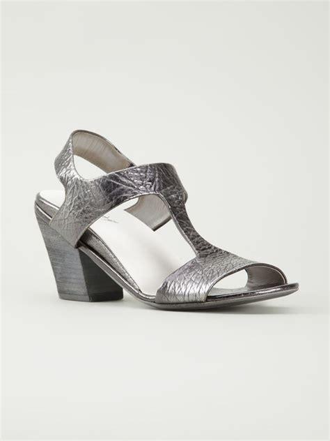 silver chunky heel sandals mars 232 ll chunky heel sandals in silver metallic lyst