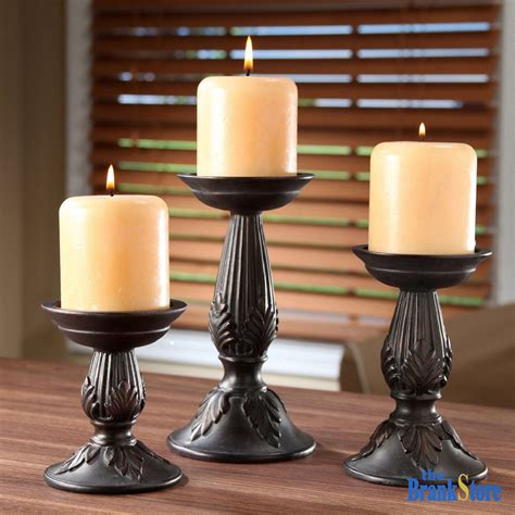 Set Vintage 3 pillar candle holders set of 3 vintage candles stands