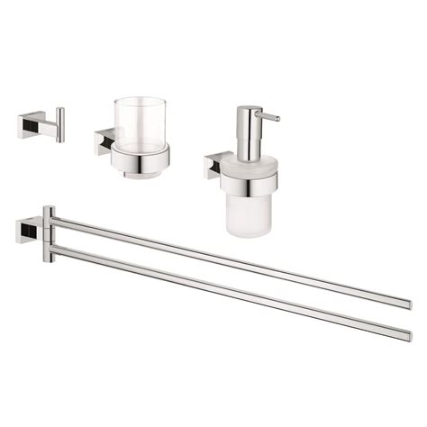 Grohe Bathroom Accessories Grohe Essentials Cube 4 Bath Accessory Set In Starlight Chrome 40847001 The Home Depot