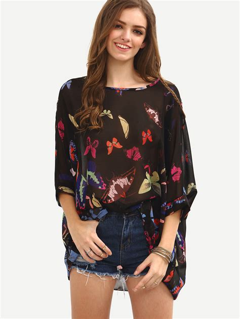 Butterfly Fashion Blouse Import butterfly print chiffon poncho blouse black emmacloth fast fashion