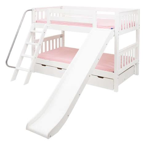 Bed Slides by Maxtrix White Bunk Bed W Slide 720 0s
