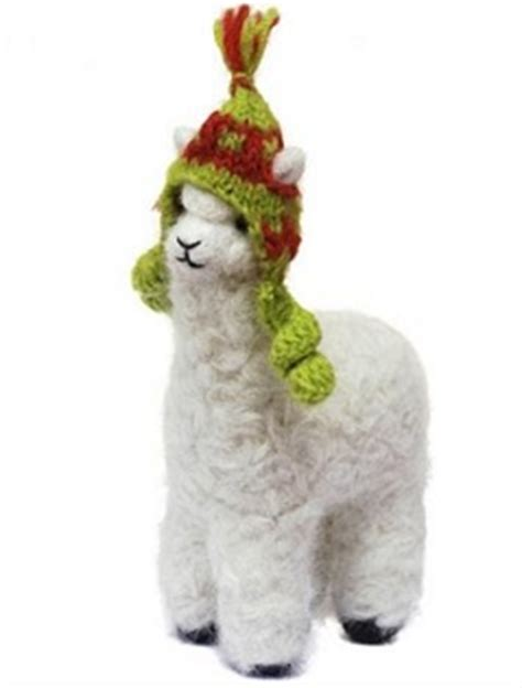 alpaca wearing a chullo christmas ornament decorate