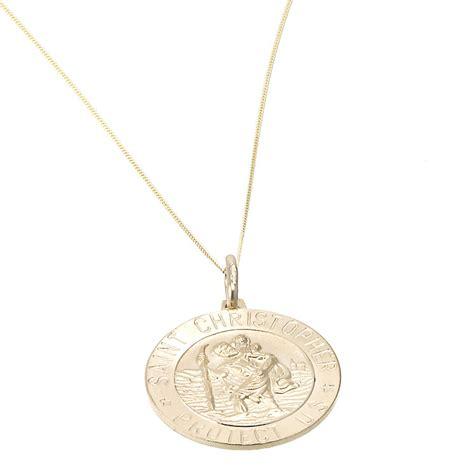 9ct gold large st christopher pendant h samuel