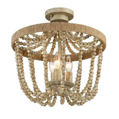 wood bead ceiling light 251 first selby natural wood three light semi flush on sale