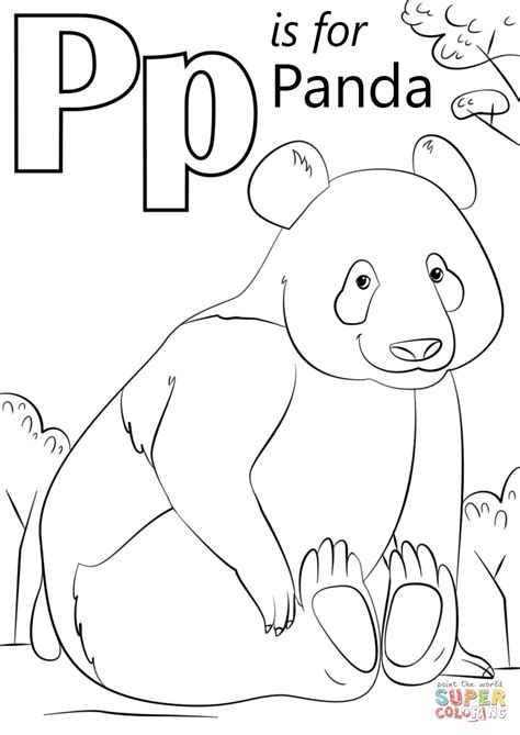 Letter P Coloring Pages Kindergarten by P Is For Panda Coloring Page Free Printable Coloring Pages