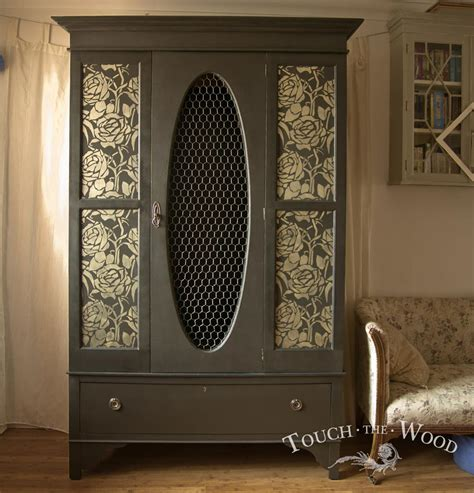 upcycled black wardrobe with floral stencil no 05 touch the wood