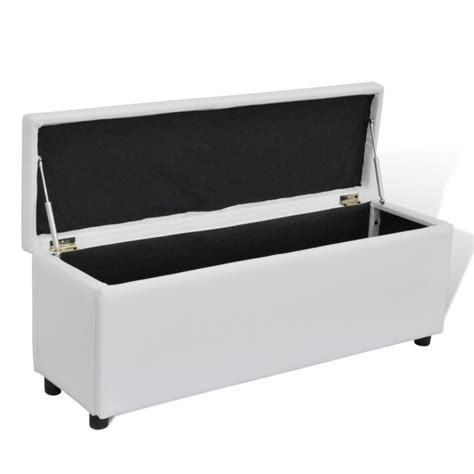 White Storage Ottoman Faux Leather Storage Ottoman Bench In White 118cm Buy Leather Ottomans