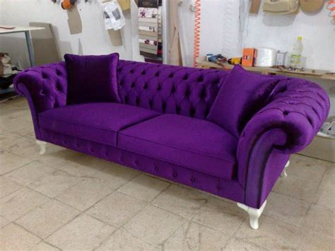 Velvet Chesterfield Sofa Purple Blue Pink Bright