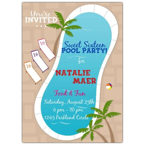 pool sweet sixteen invitations paperstyle