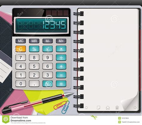 calculator x8 download vector calculator with notepad template stock vector