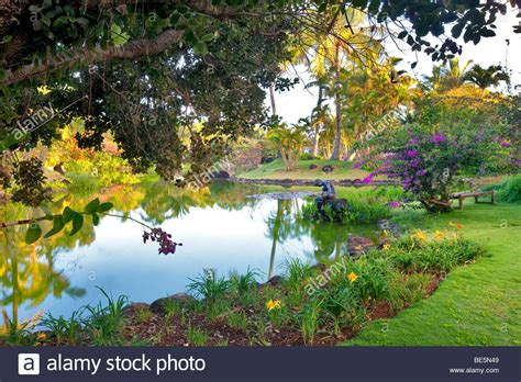 Pond And Garden With Sculpture At Na Aina Kai Botanical Na Aina Botanical Gardens
