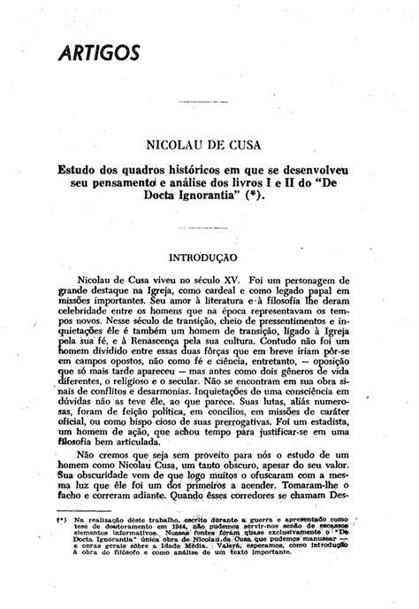 (PDF) Nicolau de Cusa. Estudo dos quadros históricos em