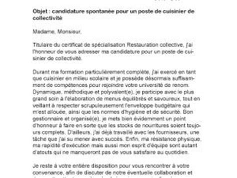Lettre De Motivation Candidature Spontanée Restauration Collective Lettre De Motivation Cuisinier De Collectivit 233 Par Lettreutile