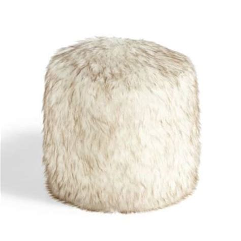 Faux Fur Ottoman Threshold Fur Ottoman With Hairpin Legs In Brown