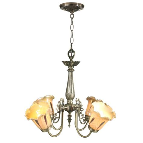 Chandelier Hanging Springdale Lighting Columbus Tulip 4 Light Antique Brass