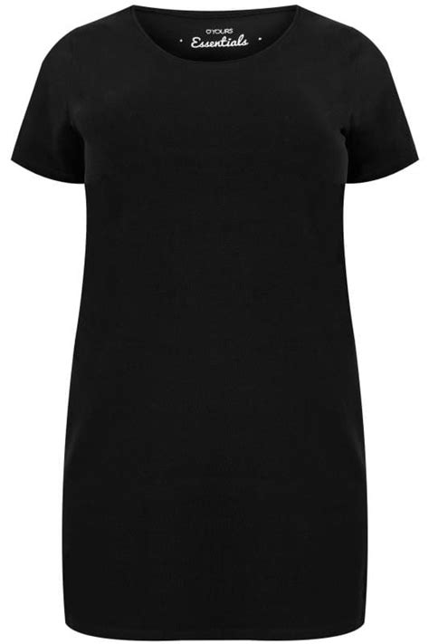 Black Longline T-Shirt With Scooped Neck, Plus size 16 to 36