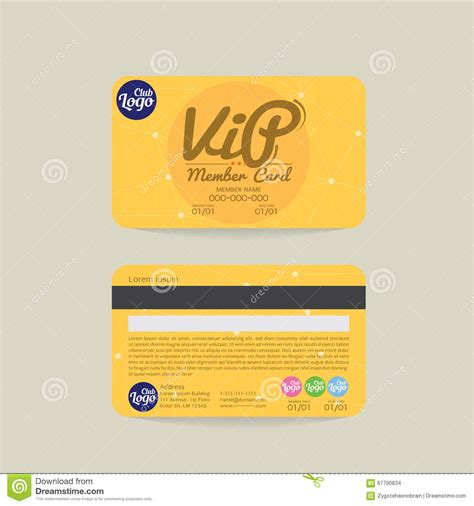 memeber id card letter template front and back vip member card template stock vector