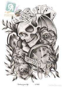 clock and skull tattoo design tattoo designs tattoo