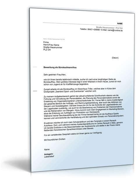 Anschreiben Bewerbung Bürokauffrau   Muster zum Download