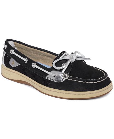 womens sperry top sider angelfish eyelet boat shoe sperry top sider women s angelfish boat shoes in black lyst