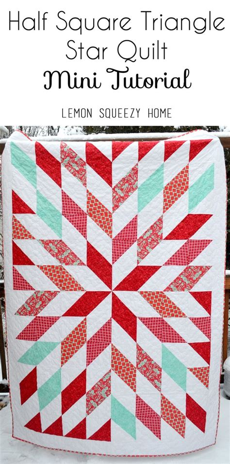 black and white hst quilt pattern hst star quilt mini tutorial lemon squeezy home sew