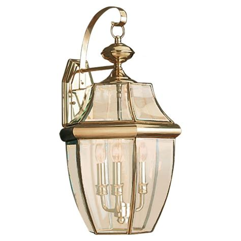 Brass Outdoor Light Fixtures Sea Gull Lighting Lancaster 3 Light Outdoor Polished Brass Wall Fixture 8040 02 The Home Depot