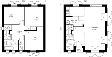 Plan De Maison A Etage 3393 by Plan Maison En U 6 Chambres
