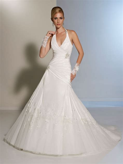 low cut halter wedding dress   Wedding   Pinterest