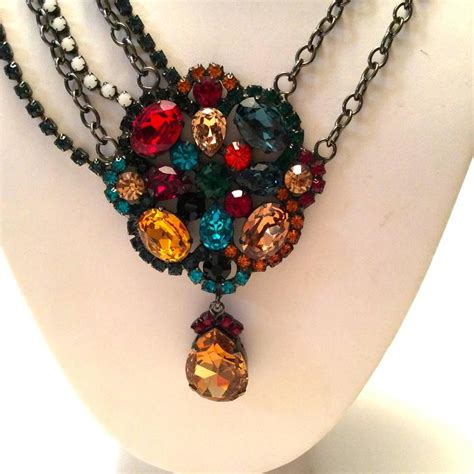 Jeweled Magnificence Kenneth by Kenneth J Kjl Multi Colored Rhinestone Necklace For