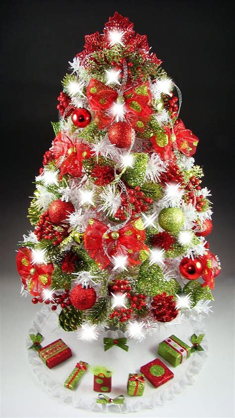 decorated mini tabletop christmas tree red lime green