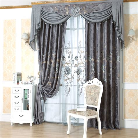 grey window curtains jacquard european gray window curtains of flower patterns