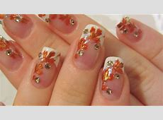 Autumn Bridal Design with Bronze/Burnt Orange and Gold ... French Tip Nail Designs With Glitter