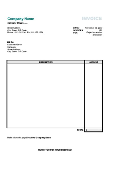blank invoice template simple excel invoice templates