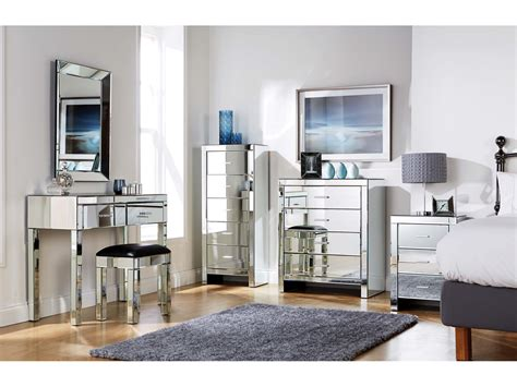 mirrored furniture bedroom collection glass chest