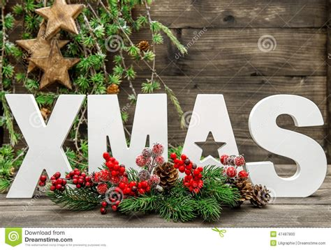 Letter Tree Decorations by Decorations And Letter With Pine Tree Branches Stock Photo Image 47487800