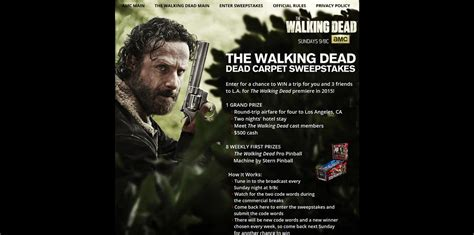 The Walking Dead Carpet Sweepstakes - amc s the walking dead dead carpet sweepstakes amc com deadcarpet code words