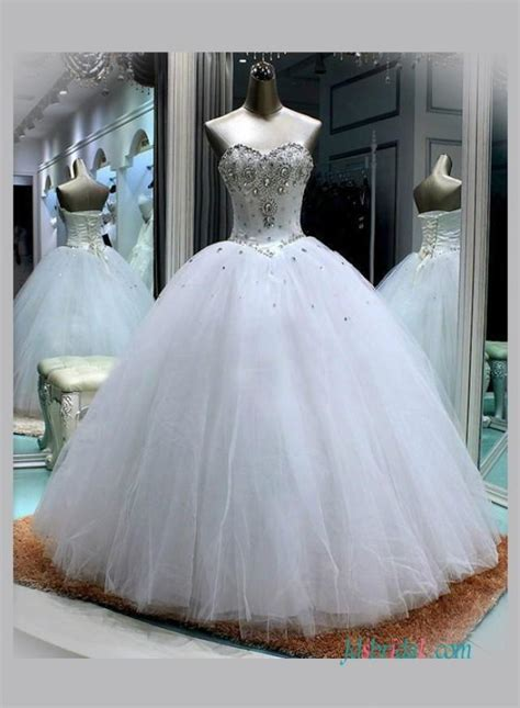 sweetheart neckline white princess ball gown wedding dress