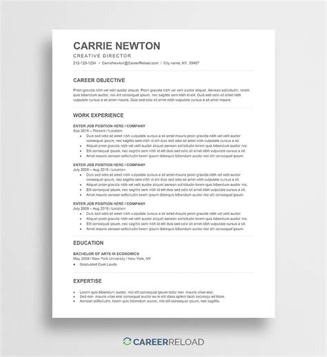 Free Word Resume Templates Free Microsoft Word Cv Templates Free Ats Resume Templates