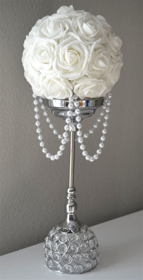 WHITE Flower Ball With DRAPING PEARLS. White Wedding